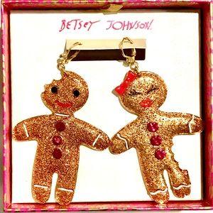 NWT Betsey Johnson Gingerbread Man Woman Earrings